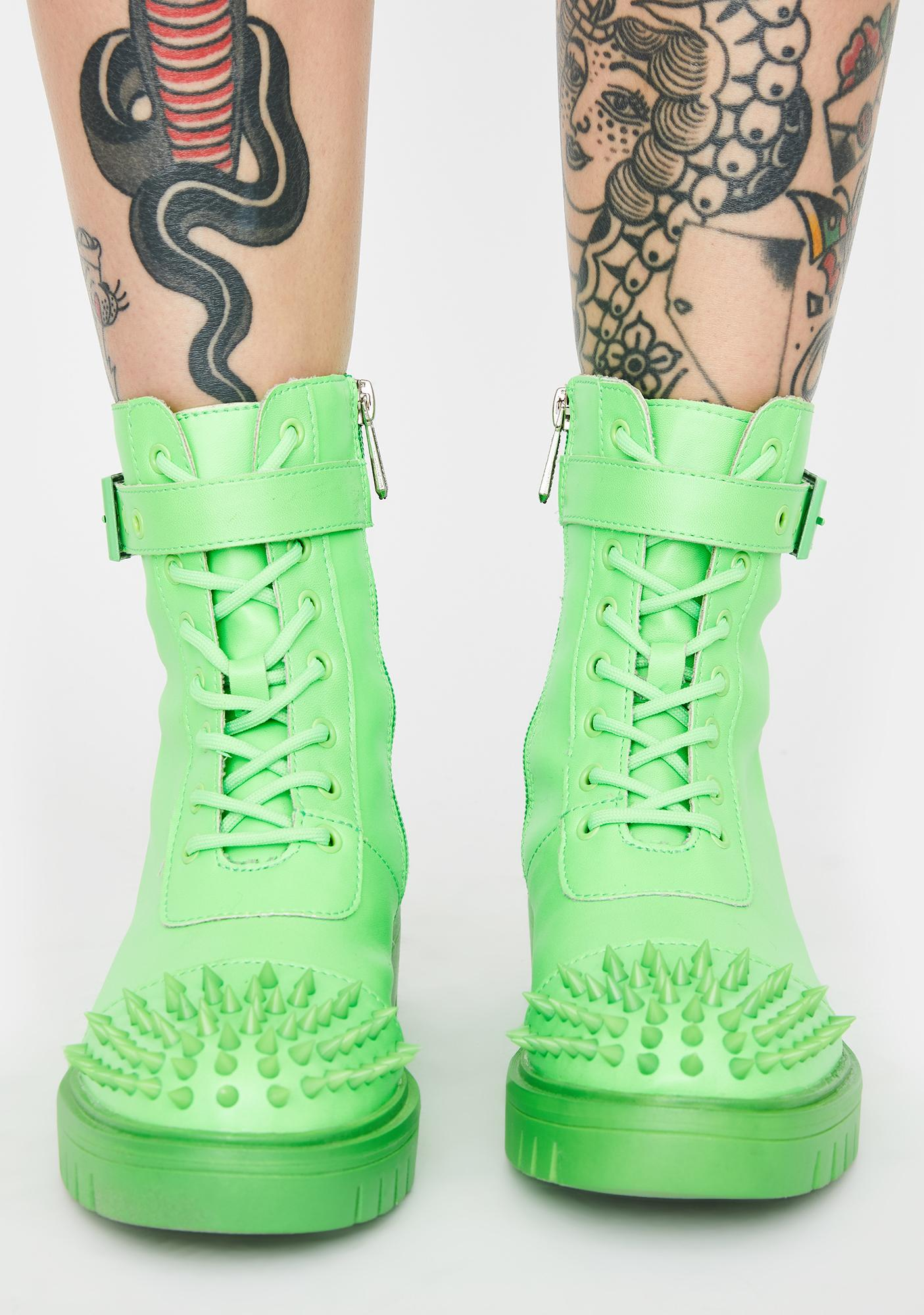 Lime Bite Back Studded Boots
