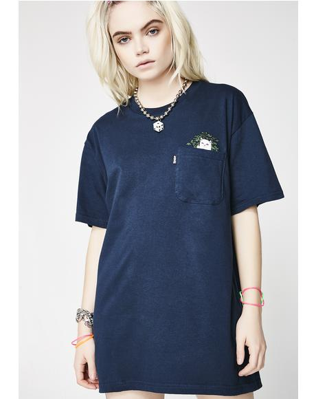 Navy Cat Nip Pocket Tee
