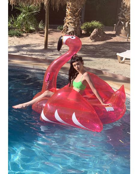 Glitter Pink Flamingo Pool Float