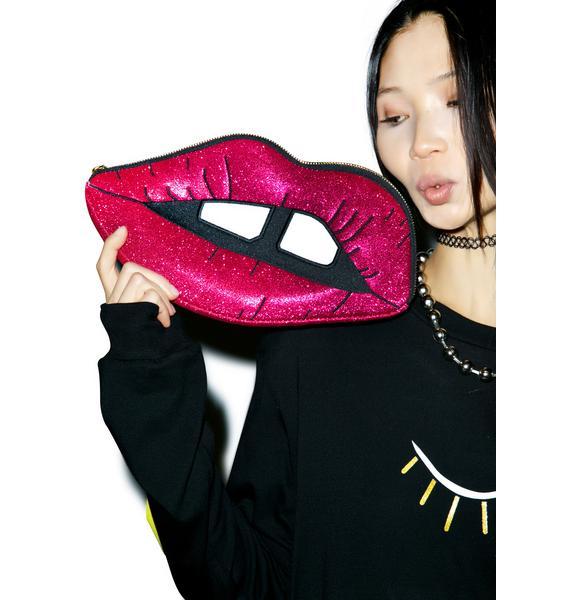 Skinnydip Pink Glitter Lips Clutch