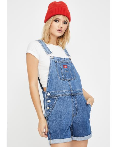 Medium Wash Roll Hem Shortalls