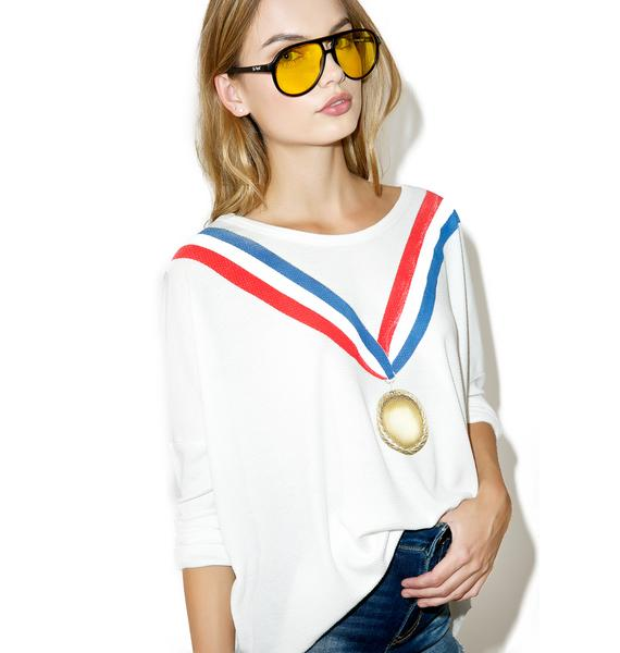 Wildfox Couture Gold Medal Long Sleeve Tee