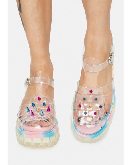 Groovy Slinky Platform Studded Sandals