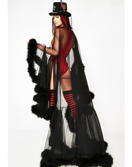 Wicked Champagne Campaign Feather Cape