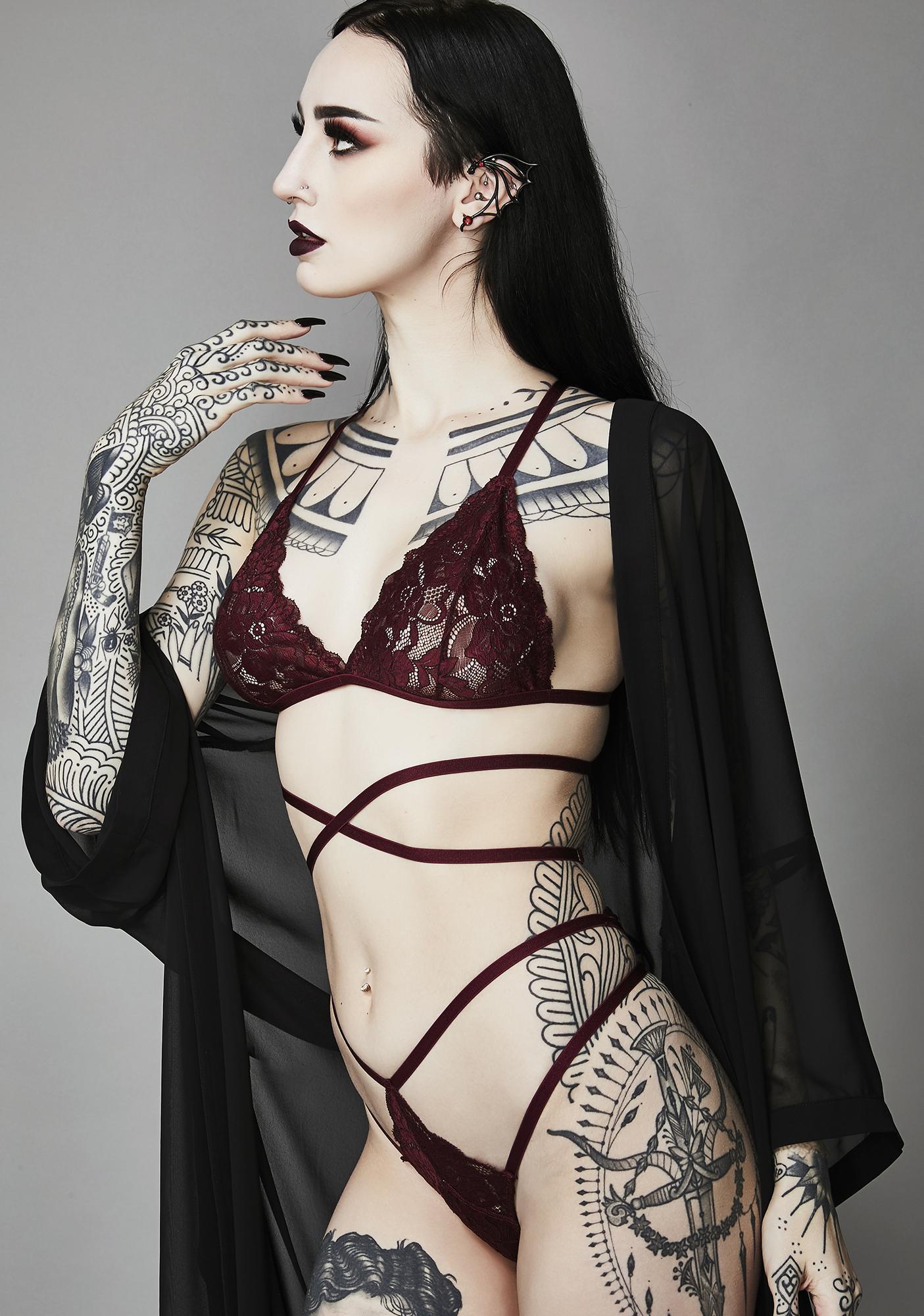 Widow Merlot Silent Heart Wrap Lace Bra