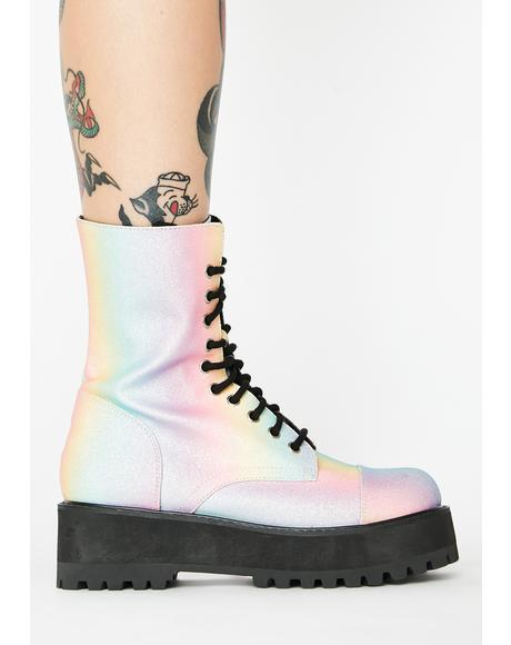 World Is My Oyster Combat Boots