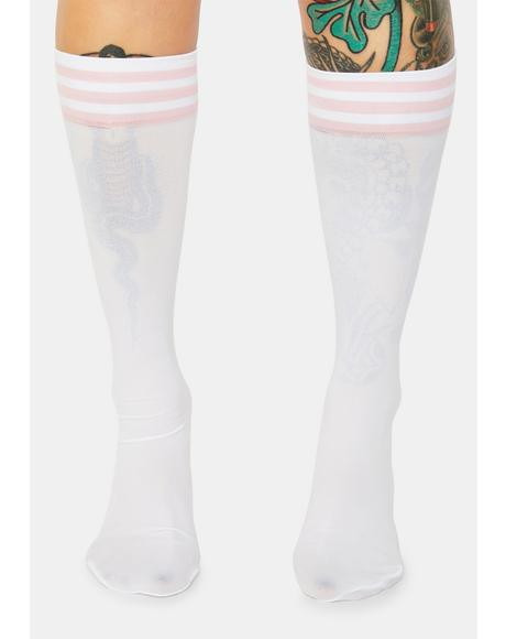 Blush Sporty Sass Stripe Knee High Socks