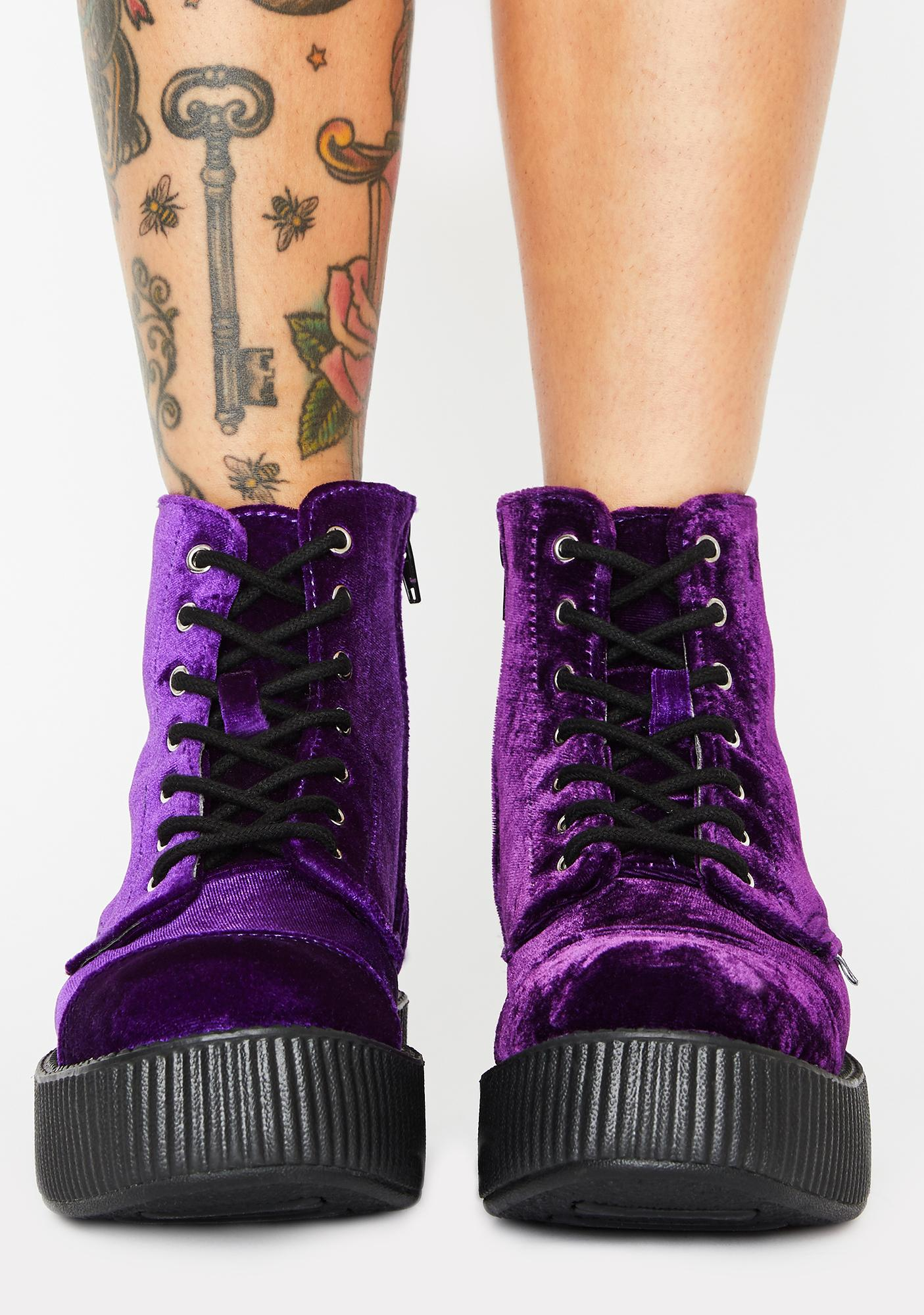 T.U.K. Violet Velvet Viva Mondo Creeper Boots