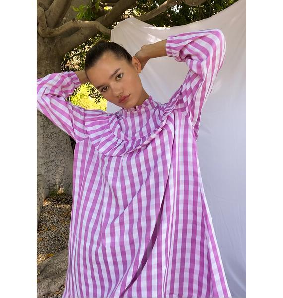 Glamorous Pink Gingham Long Sleeve Dress