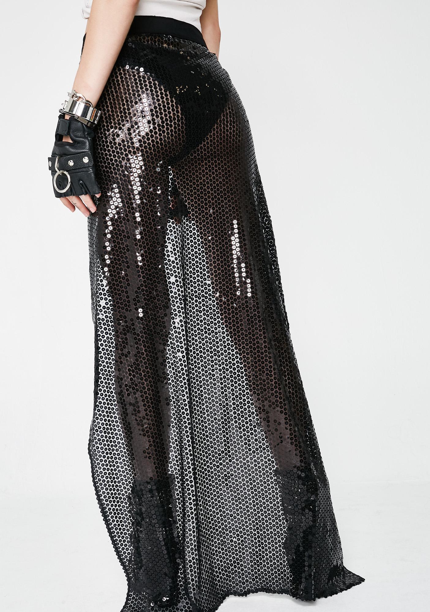 Soulan Zee Black Sequined Skirt