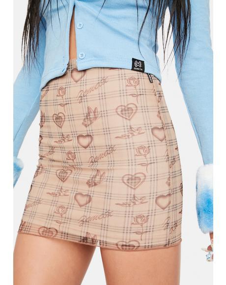 Tan Angel Plaid Mesh Skirt