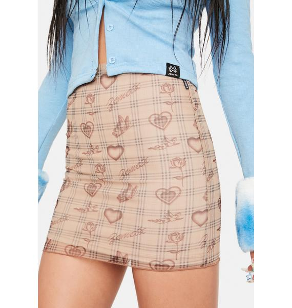 ZEMETA Tan Angel Plaid Mesh Skirt