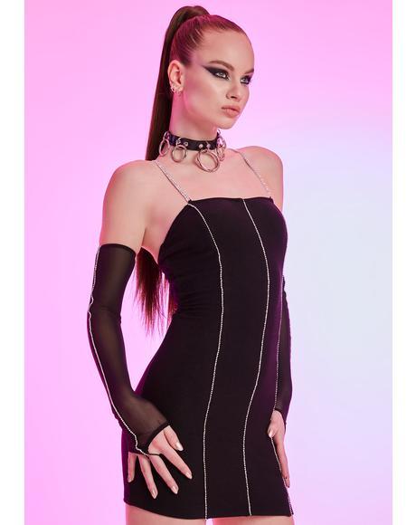 Seeking Ambitions Rhinestone Mesh Dress Set