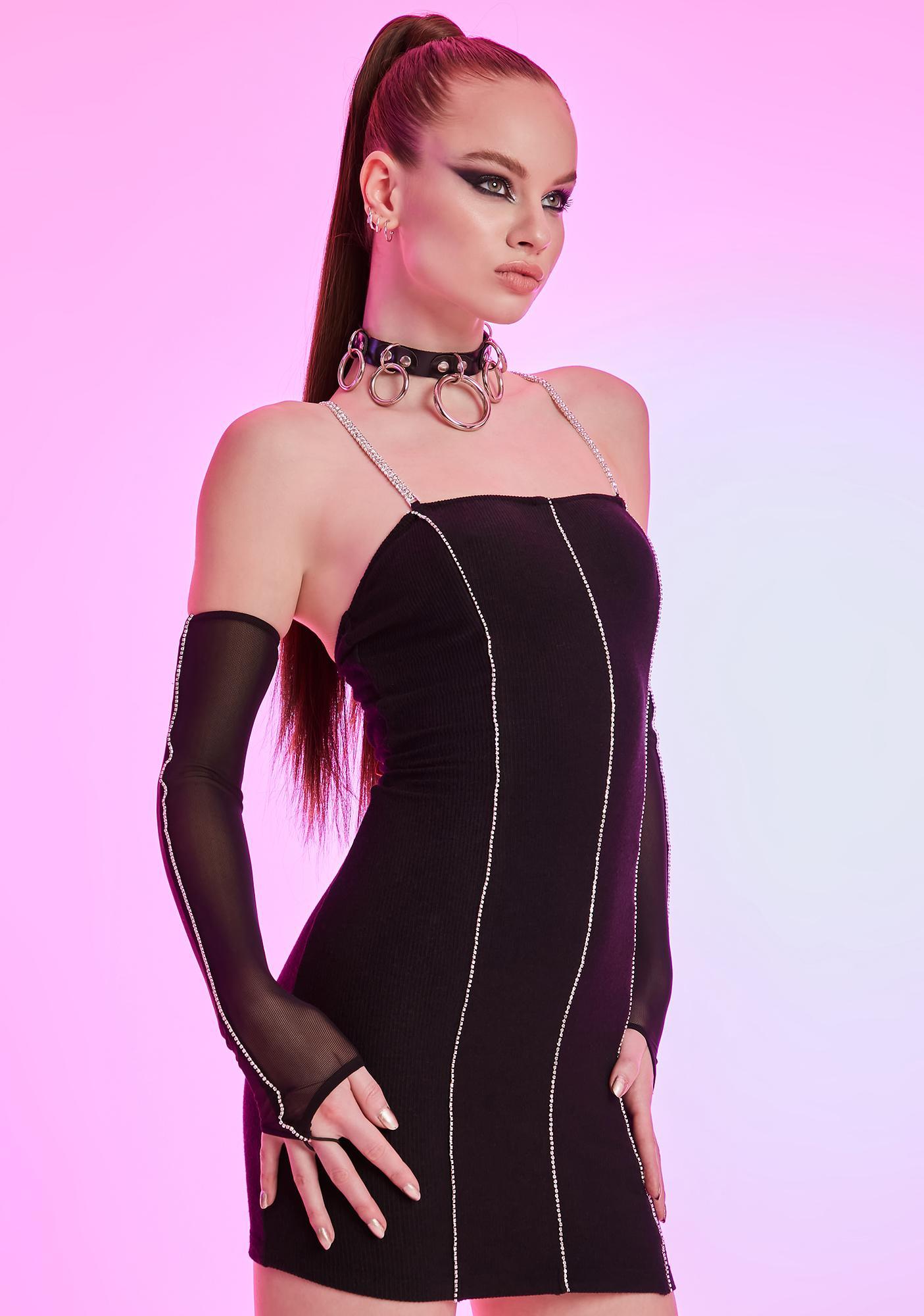 HOROSCOPEZ Seeking Ambitions Rhinestone Mesh Dress Set