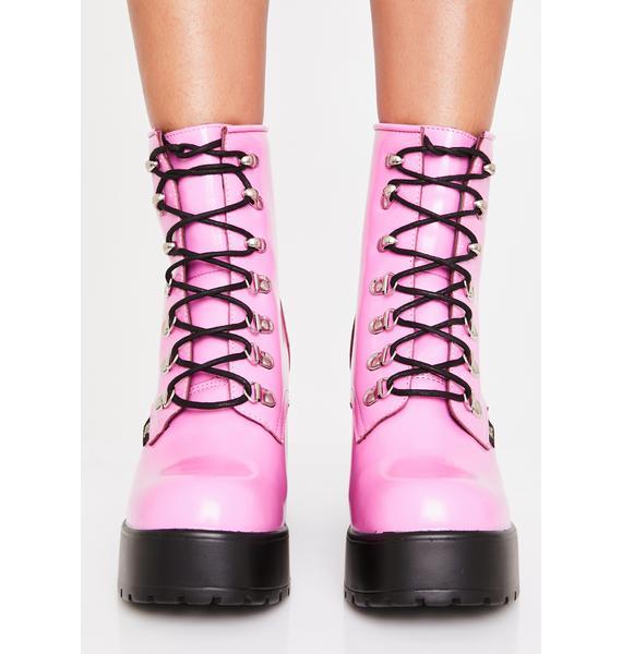 ROC Boots Australia Pink Mission Hi-Shine Combat Boots