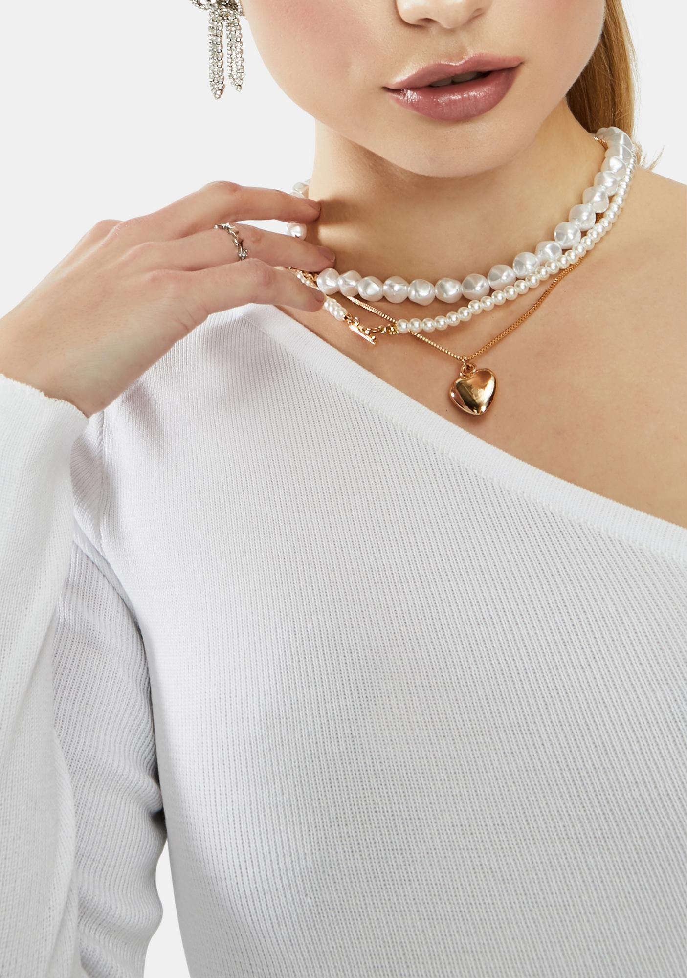 Forever Love Pearl & Heart Locket Necklace