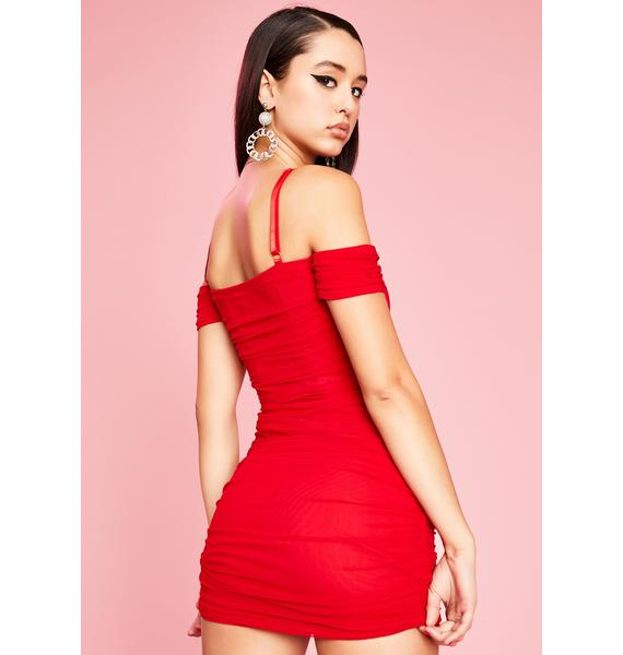 Sugar Thrillz Red Light Special Ruched Dress