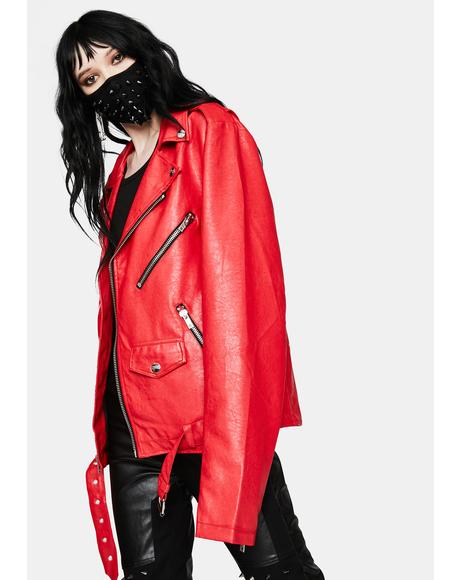 Classic Red Moto Jacket