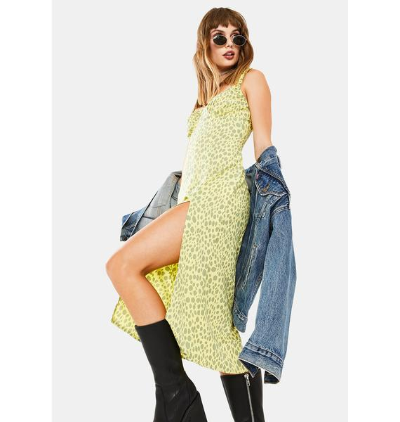 Motel Wild Cat Green Jova Midi Dress