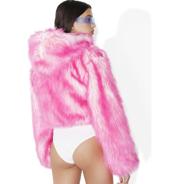 J Valentine Sugar Light-Up Aqua Tip Fur Crop Jacket
