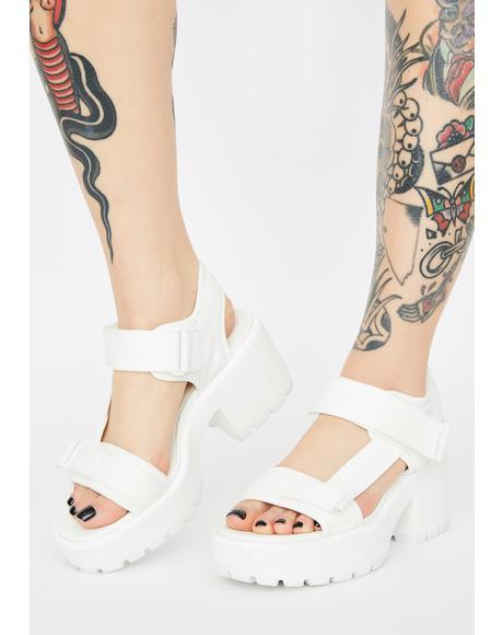 White Textile Dioon Platform Sandals