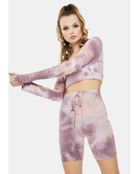 La Z Girl Tie Dye Lounge Shorts Set