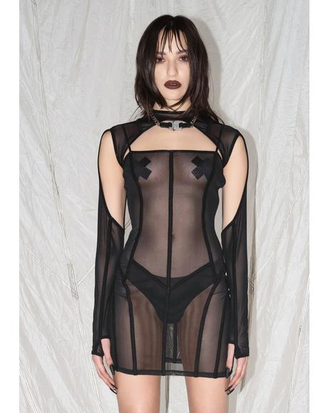 Synth Cutout Mesh Mini Dress