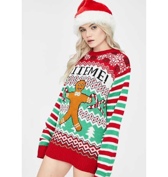 American Stitch Bite Me Christmas Sweater