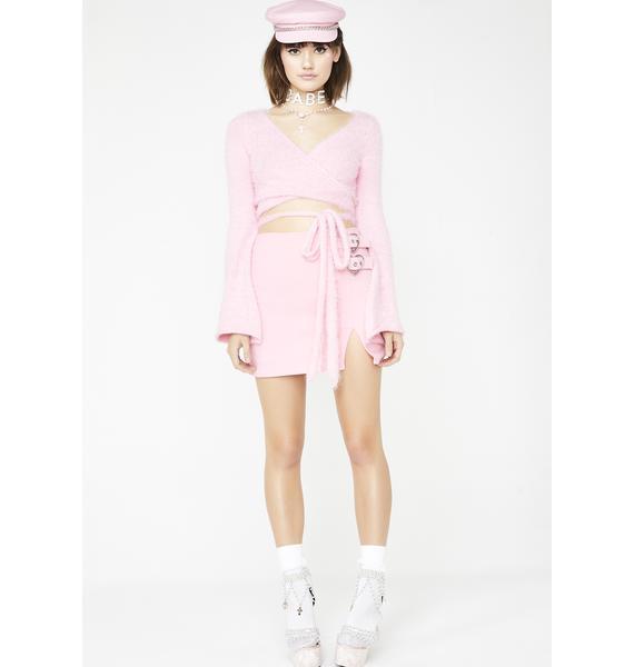 Sugar Thrillz Blushin' Saintly Sassy Wrap Sweater