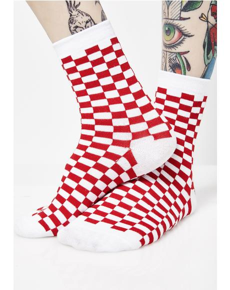 Cherry Check U Out Socks