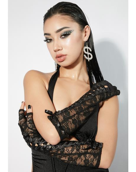 Cash Out Lace Fingerless Gloves