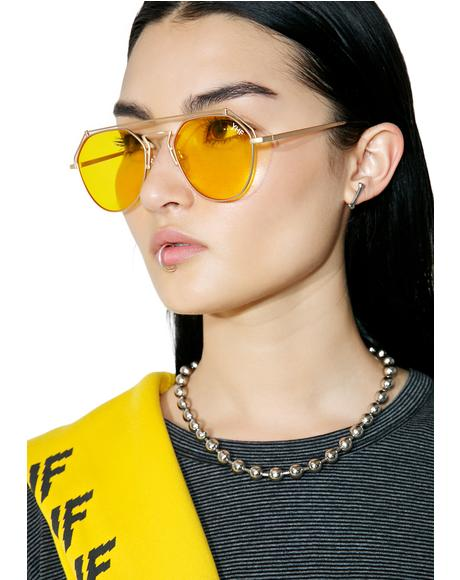 Yellow Stephanie Matte Sunglasses