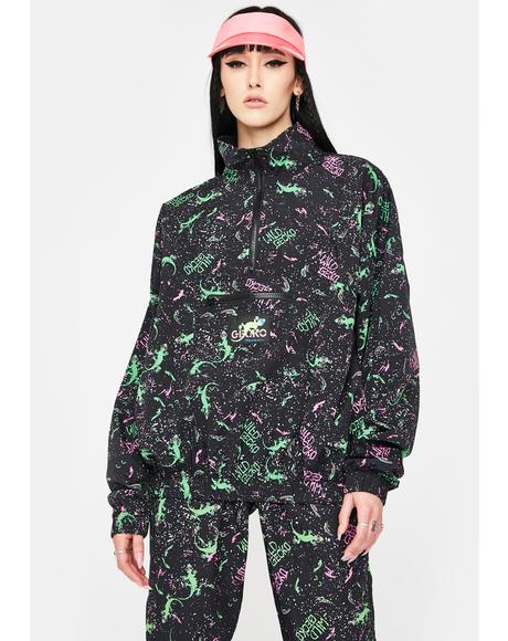 Black Gecko Neon Splatter Windbreaker