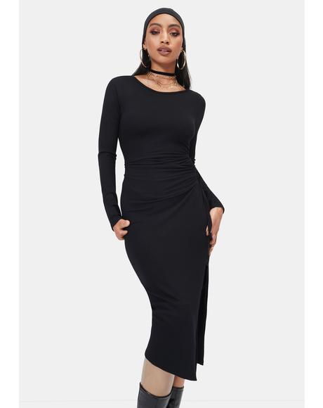 Dominate the Room Slit Midi Dress