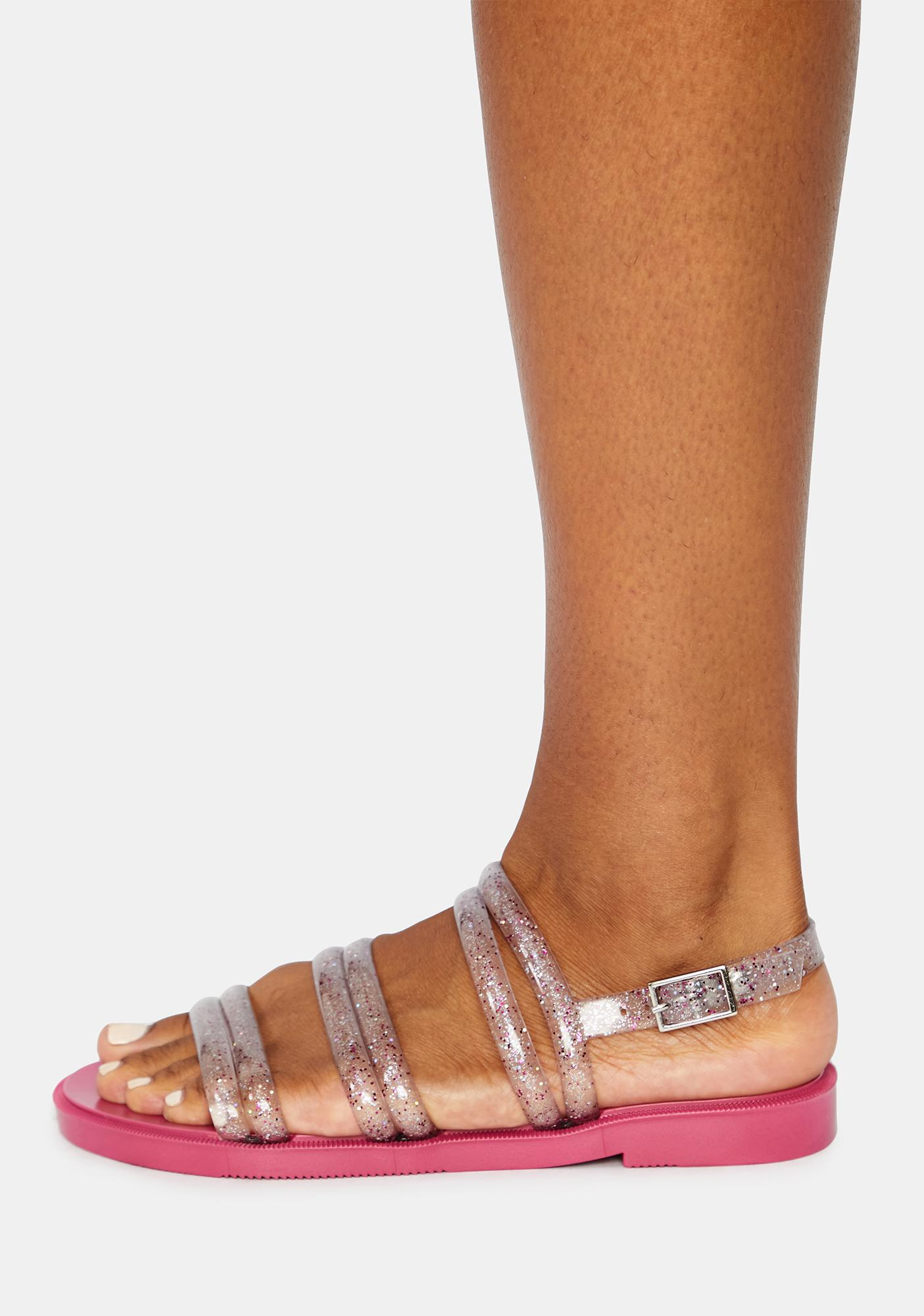 Petite Jolie Pink Del Rio Glitter Jelly Sandals