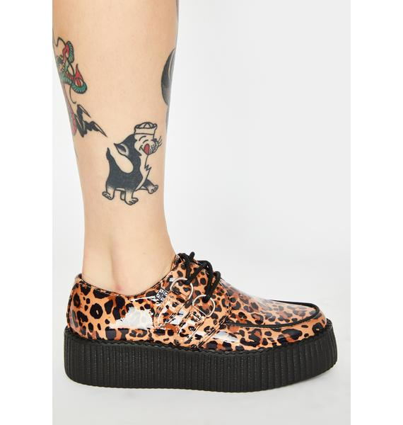 T.U.K. Patent Leopard Lace Up Creepers