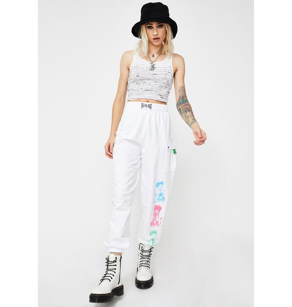 NEW GIRL ORDER White Cargo Joggers