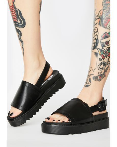 Black Slingback Platform Sandals