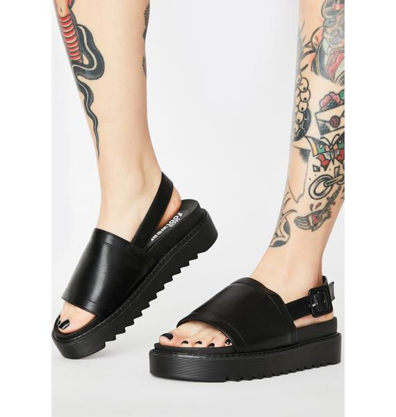 Koi Footwear Black Slingback Platform Sandals