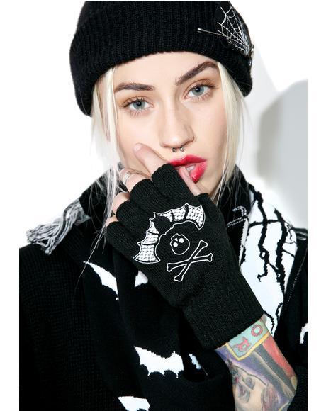 Bat Lace Fingerless Gloves