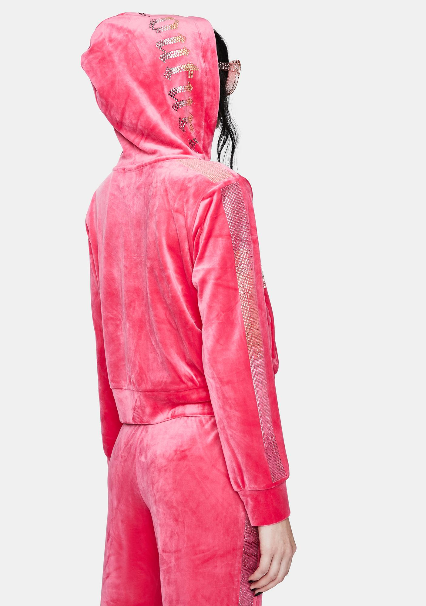 JUICY COUTURE Party Pink Rhinestone Zip Up Hoodie