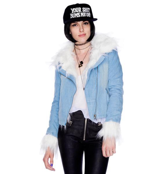 UNIF Denim Sherpa Blue Jacket