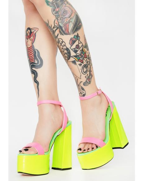 Neon Freema Platform Heels