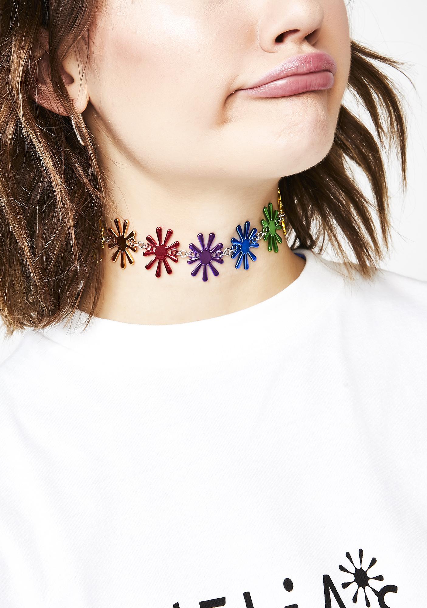 dELiA*s by Dolls Kill Rainbow Bloomin' Flower Choker