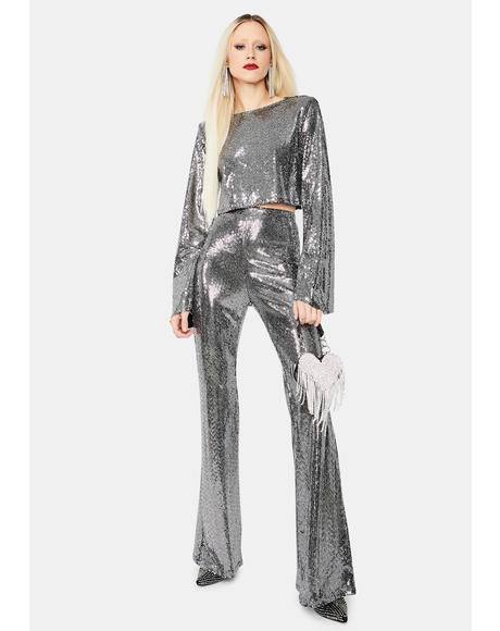 Club Queen Sequin Flare Pants Set