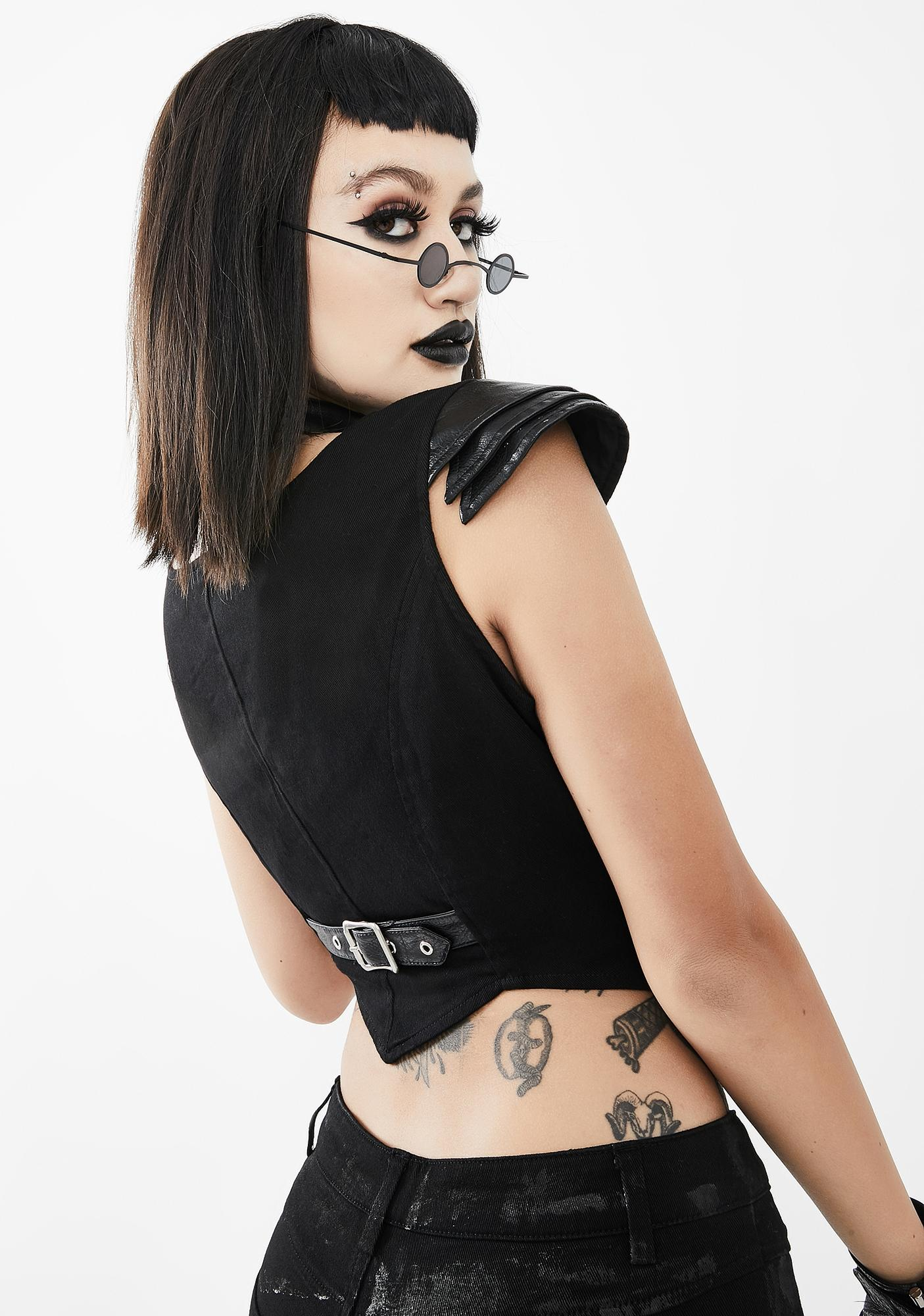 Devil Fashion Bust Cut-Out Choker Top