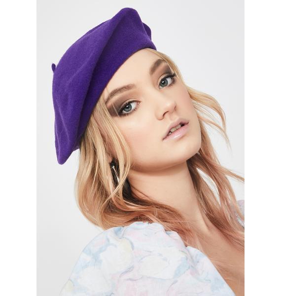 Olive & Pique Dark Purple Jessie Beret