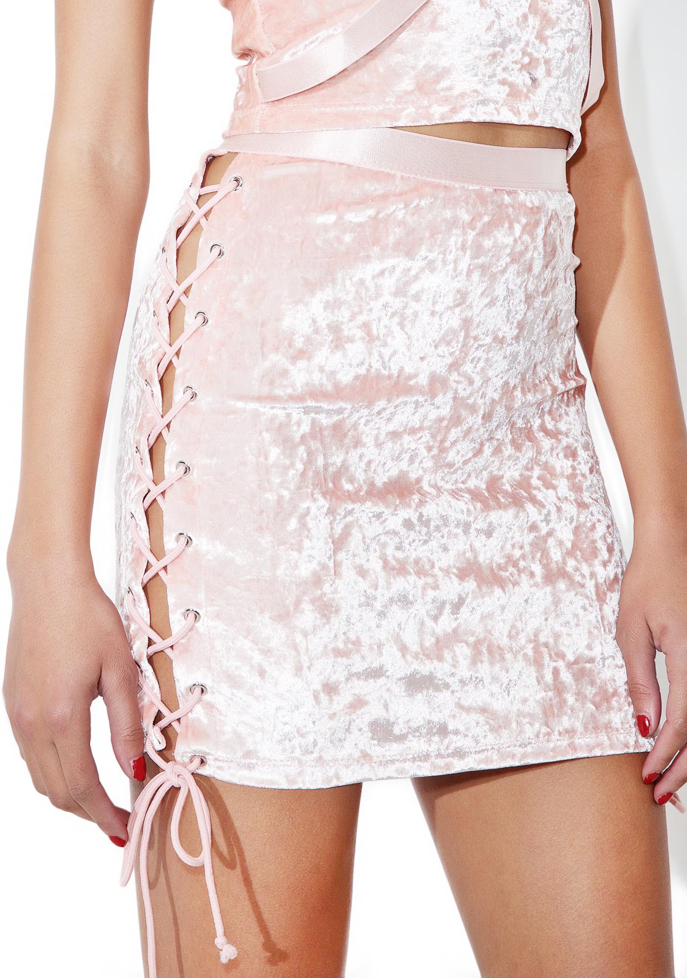 Current Mood Princess Velvet Crushin� Lace-Up Skirt