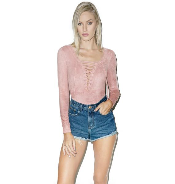 Glamorous Wilted Rose Lace Up Bodysuit