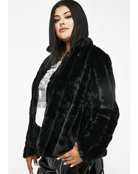 Midnight Run It Up Faux Fur Jacket